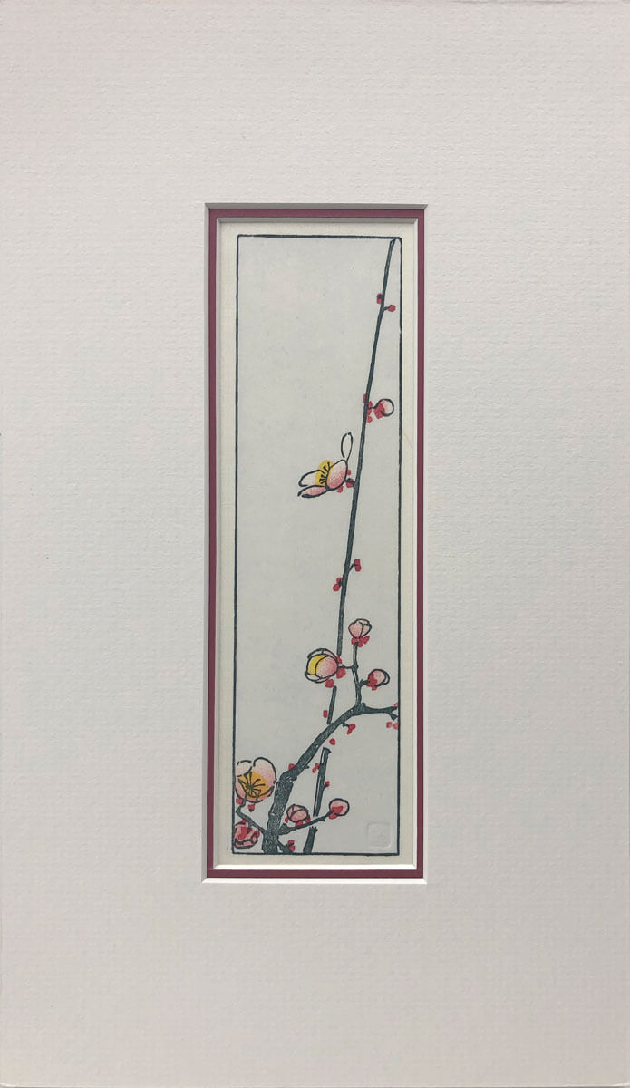 Hiroshige's Blossoming Plum Branch woodblock print mounted by Claire Cameron-Smith