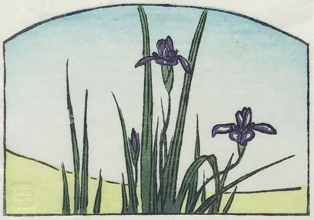 Hiroshige's Irises woodblock print by Claire Cameron-Smith