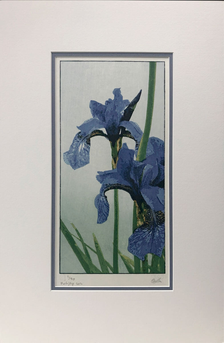 Irises limited edition woodblock print mounted by Claire Cameron-Smith
