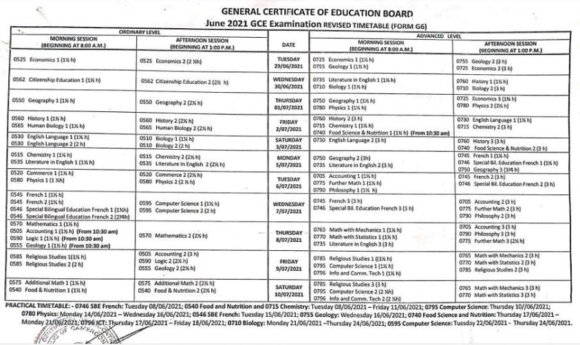 GCE Timetable 2021 A/O Level General & Technical
