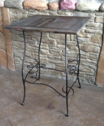 Reclaimed pine with hand bent iron base wine serving table