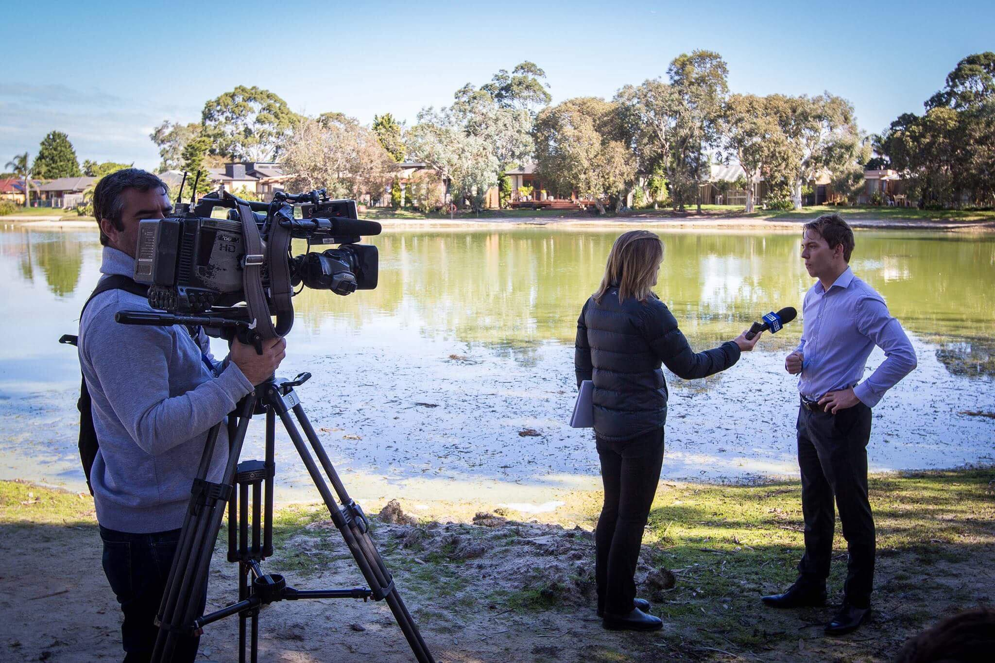 Cameron Howe at Lake Carramar, Patterson Lakes onset with 9 Network