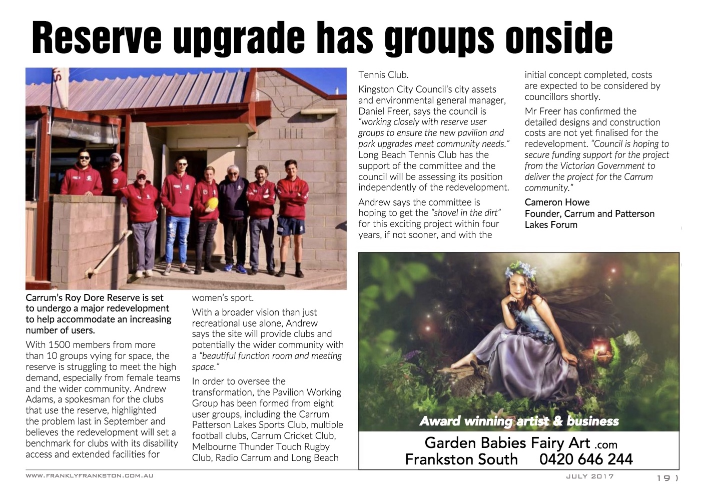 Roy Dore Reserve story, Frankly Frankston Magazine
