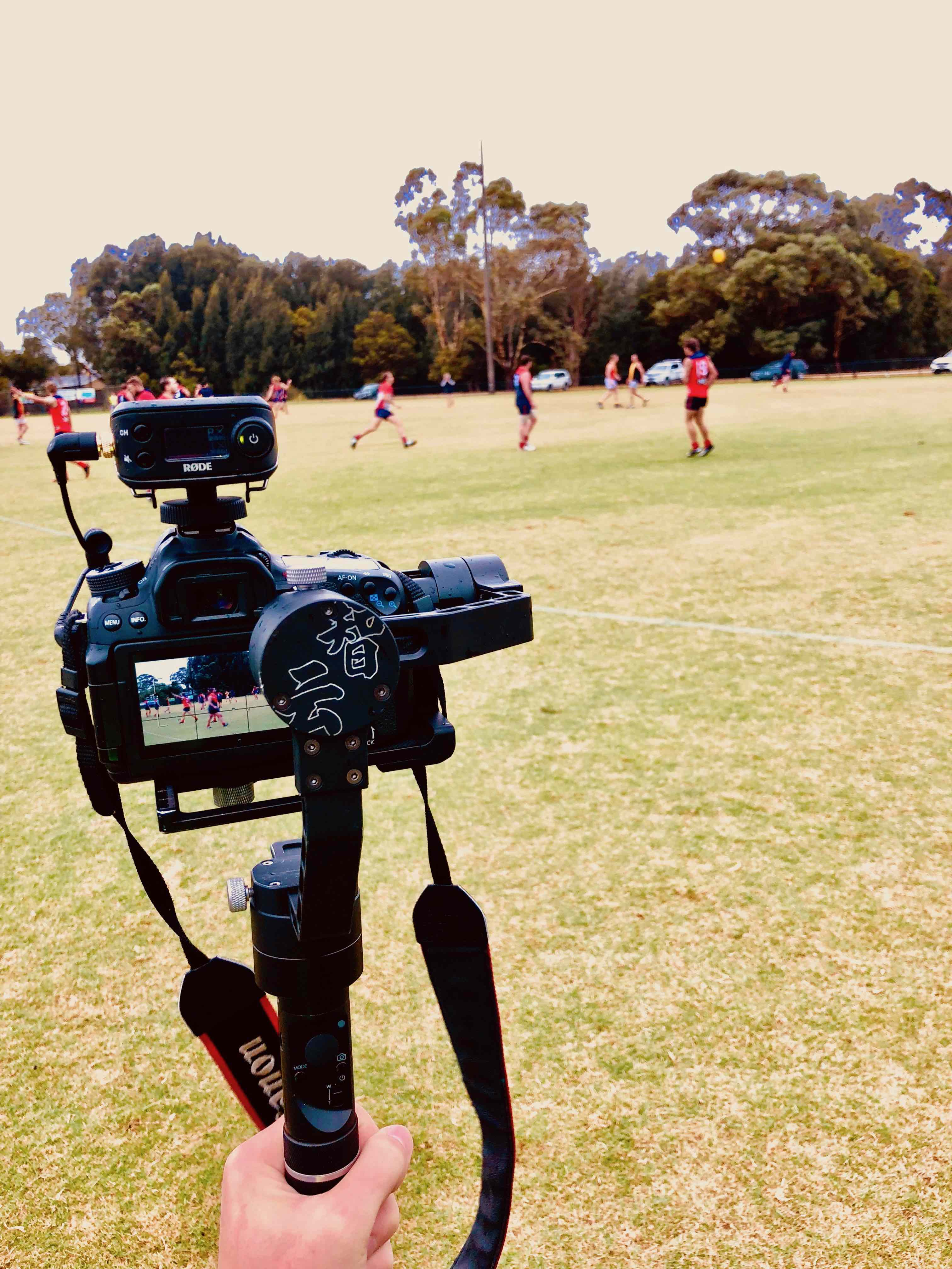 Cameron Howe filming at Chelsea Heights Football Club on match day