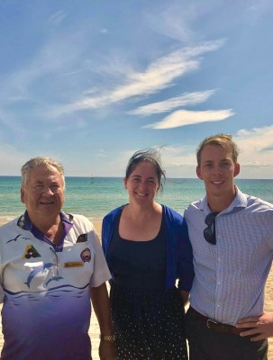 L-R Ken Aylen, Cr Tamsin Bearsley and Cameron Howe at Aspendale Beach