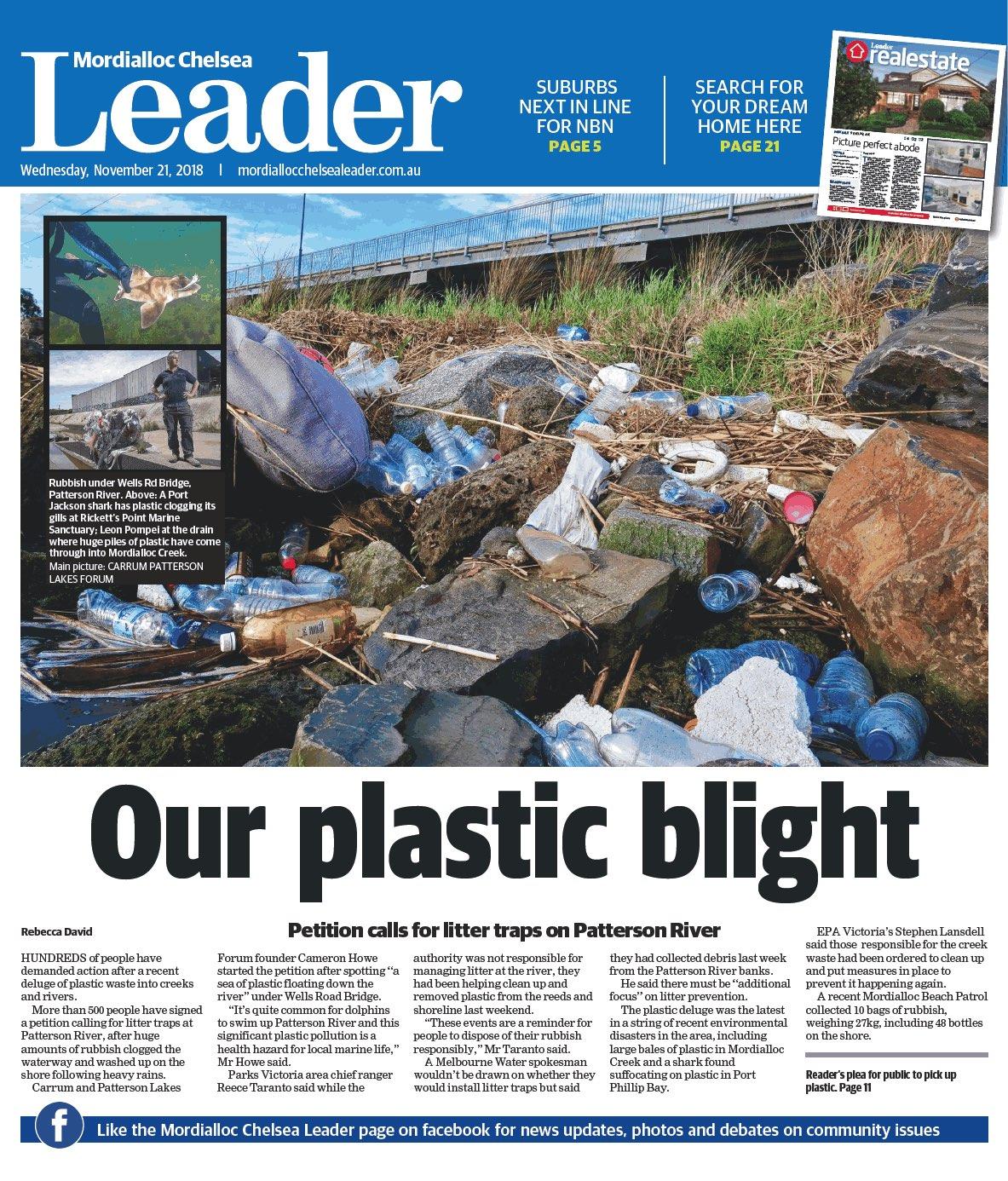 pattterson river litter traps rubbish mordialloc chelsea leader cameron howe