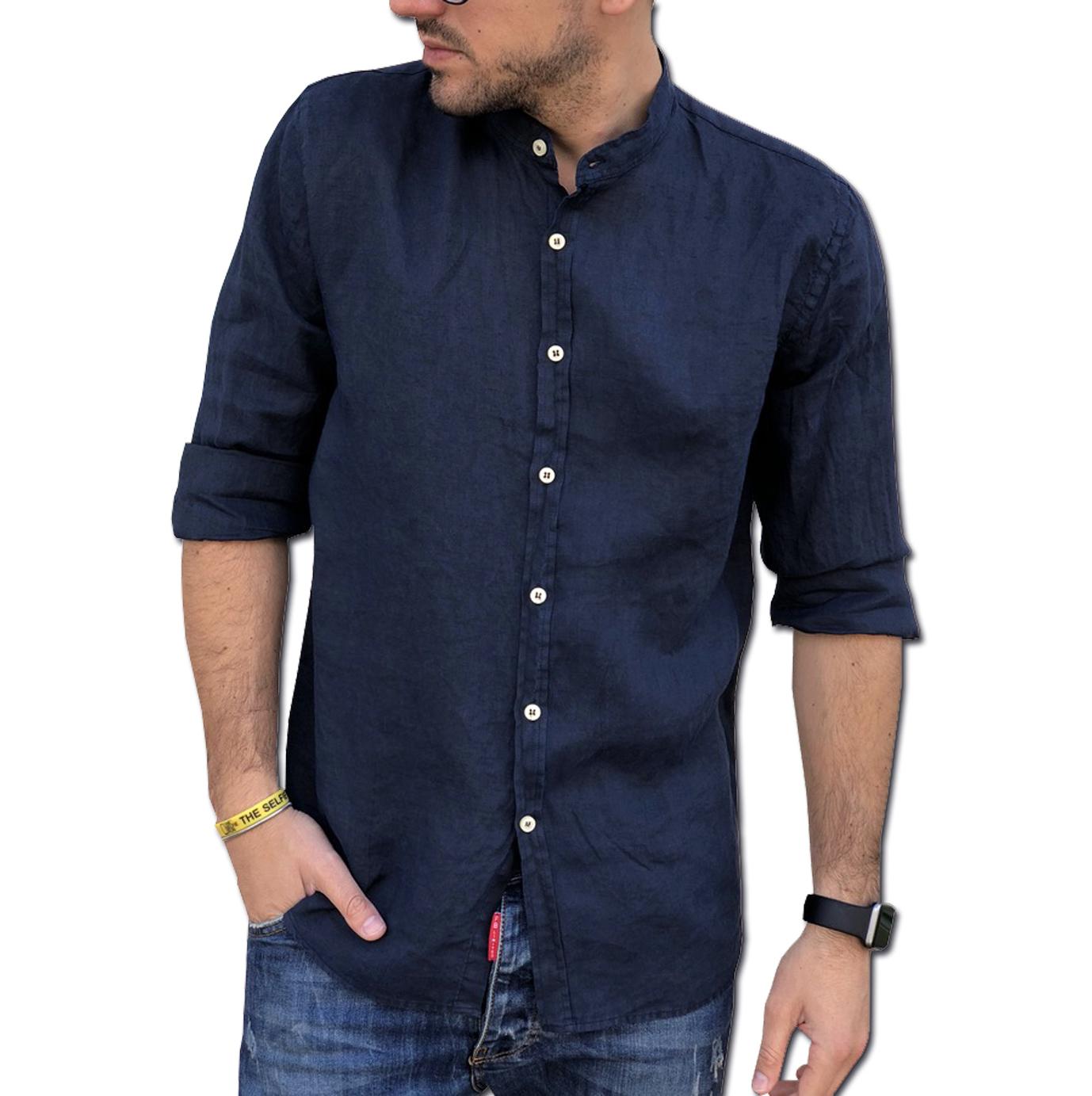 XL 3XL Uomo Button-Down Manica Lunga Art.20 CAMICIE /& dintorni Camicia Puro Lino TIPOS Made in Italy Tg L XXL M