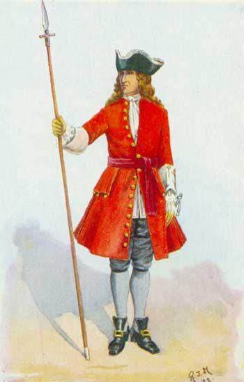 Vestimenta de soldado britânico do inicio do século 18.