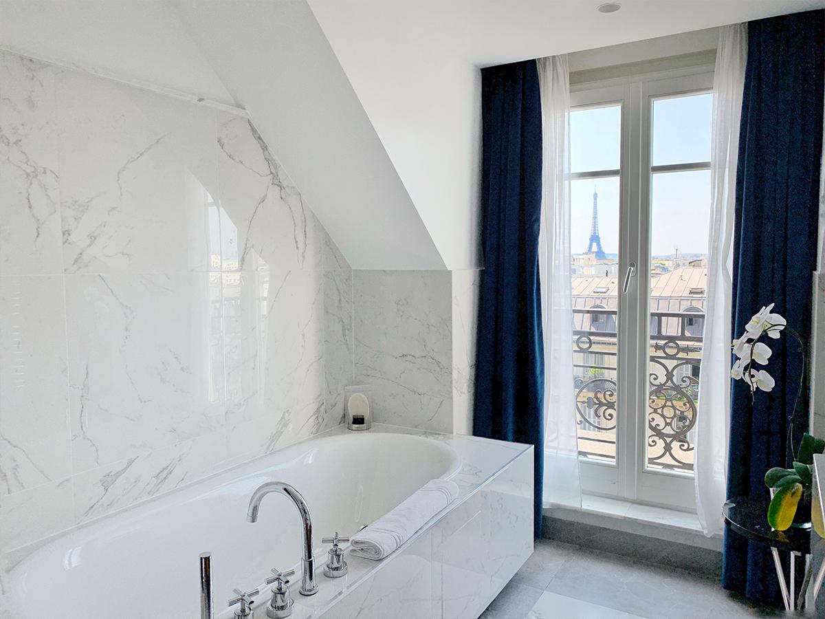 Hyatt Paris Madeleine Eiffel Tower suite bathroom view