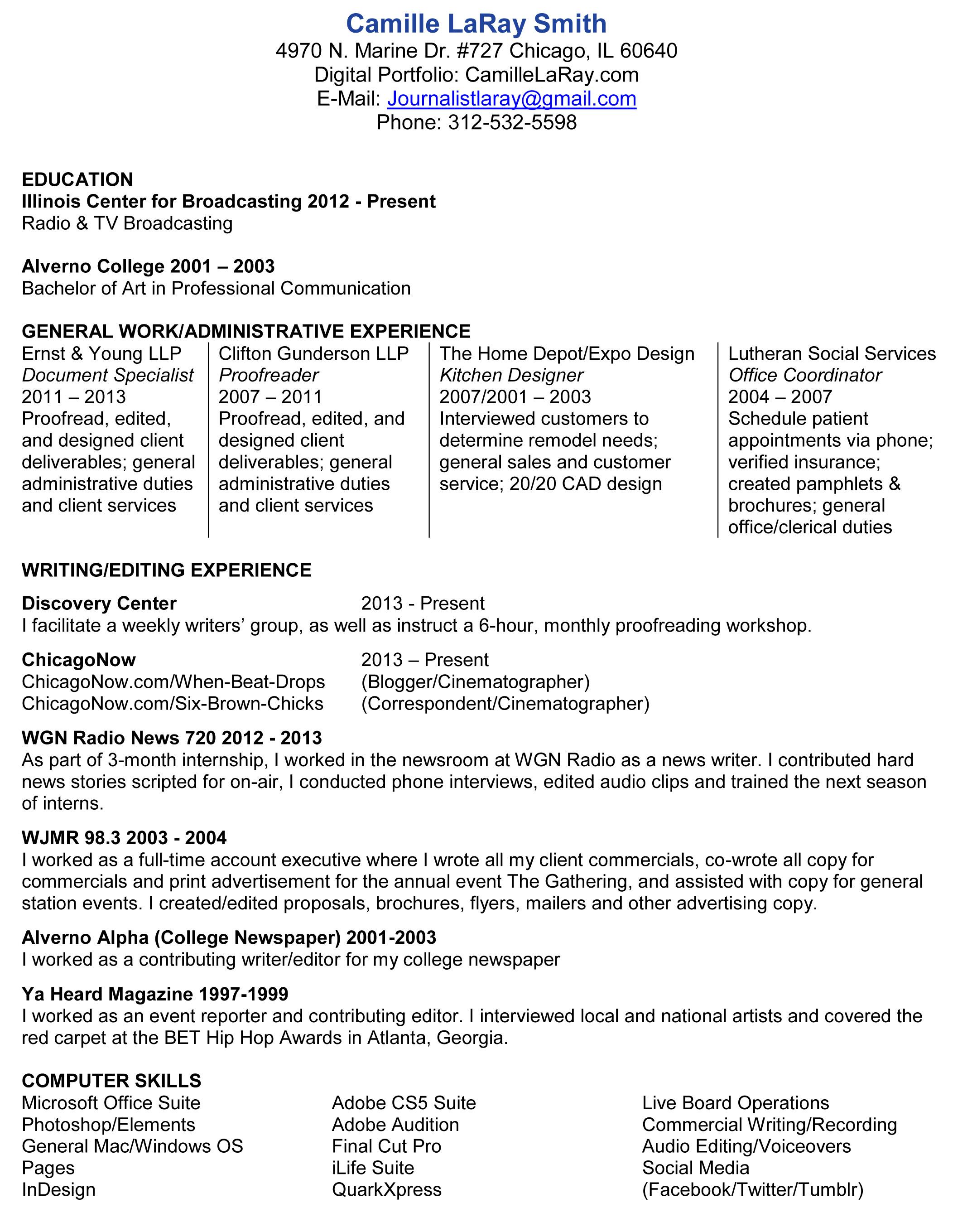 Sample Resume: Online Resume Editor Proofreading Copy Sle.