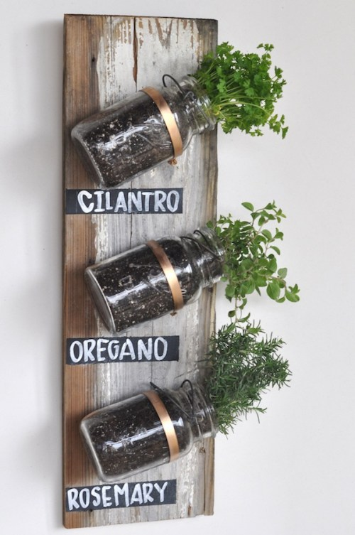 Planters for the Home Mason Jar Herb Garden Rosemary Oregano Cilantro Copper Wood Plank