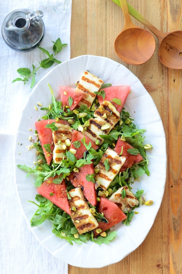 Watermelon Salad with Grilled Haloumi