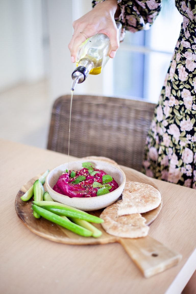 beet hummus recipe for a valentine's date night at home