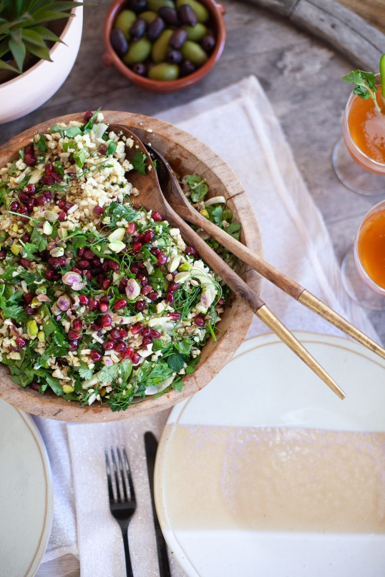 cauliflower tabbouleh recipe for a valentine's date night at home