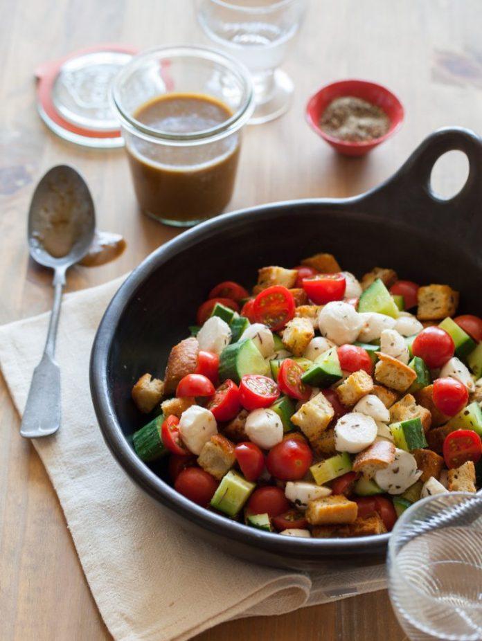 panzanella salad - spoon fork bacon