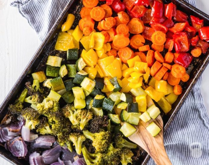 Rainbow roasted vegetables made from coconuts and kettlebells