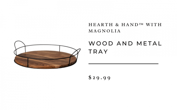 wood and metal tray