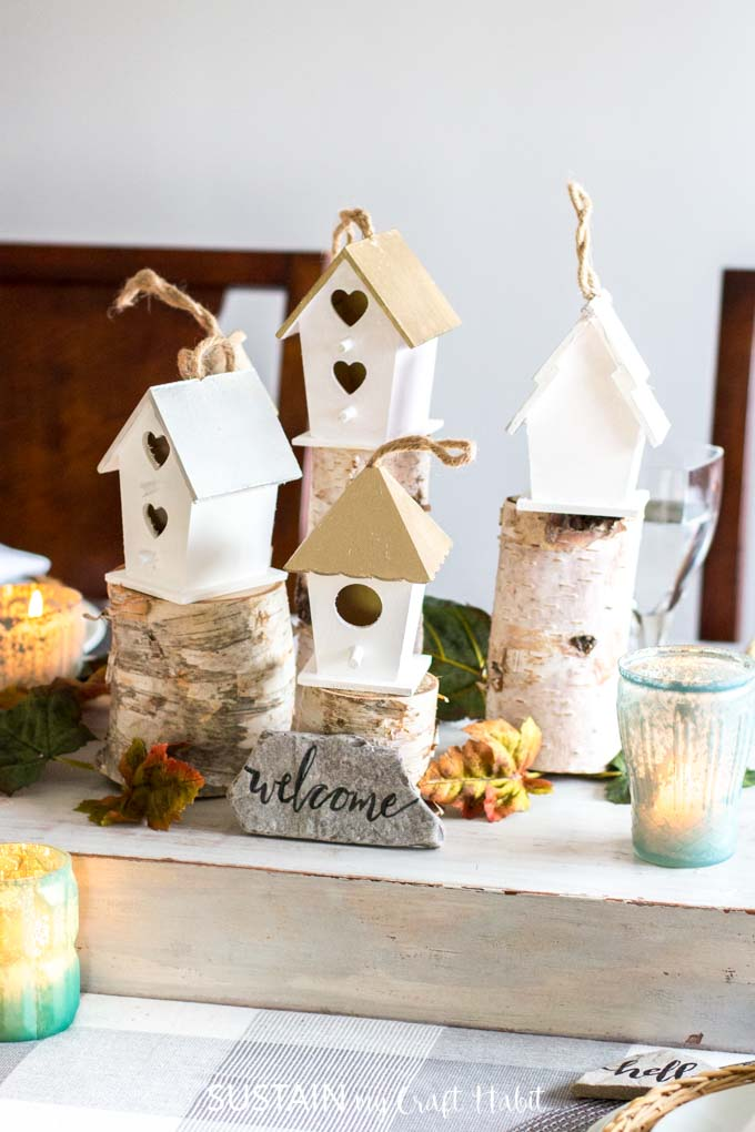 Birdhouse table centerpieces for Thanksgiving or Christmas.