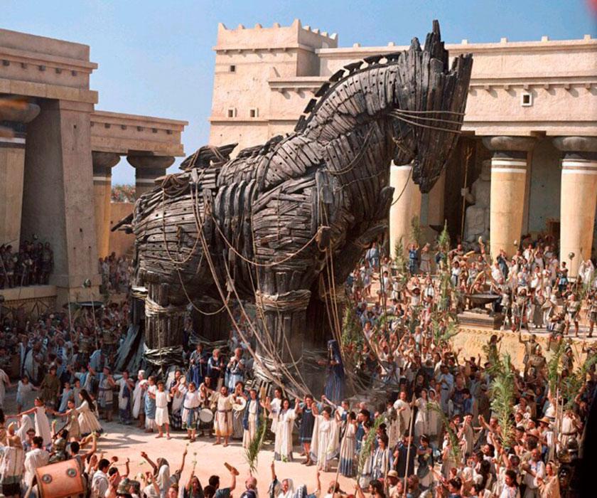 Recreación de la entrada en Troya