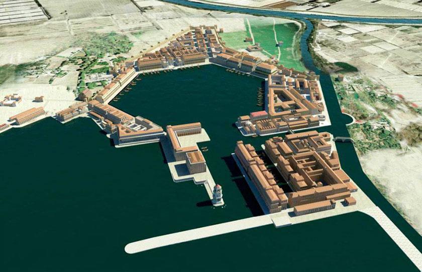 Maqueta del puerto de Ostia.