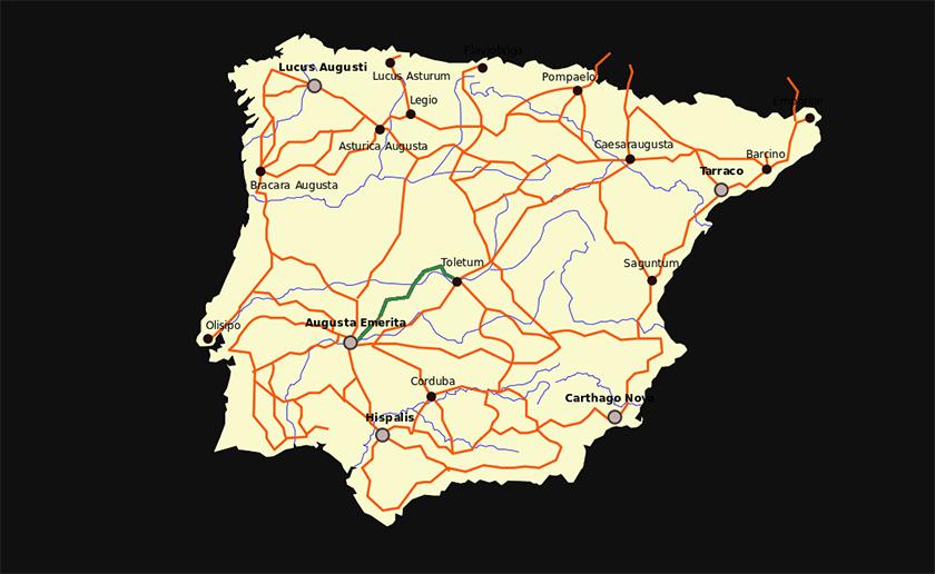 Hispania, según el Itinerario Antonino