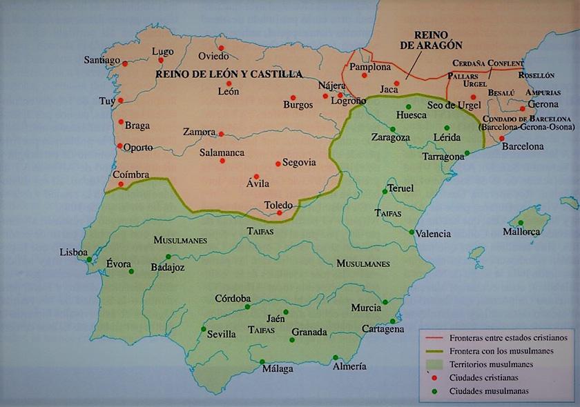 La Península en 1086, tras la toma de Toledo por Alfonso VI