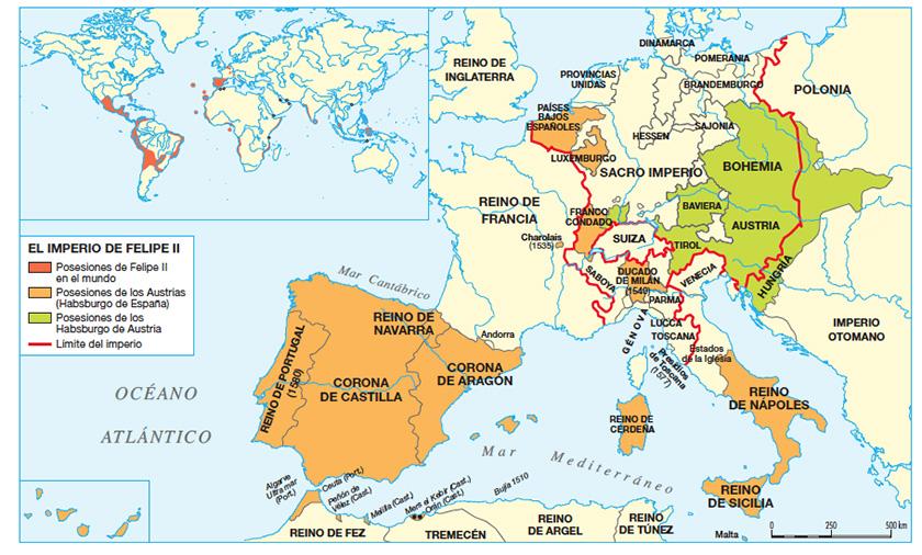 El imperio de Felipe II, durante la guerra de los 80 años.