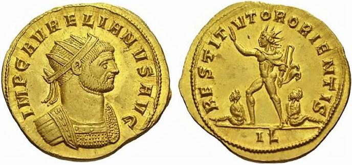 Áureo de oro con la representación de Aureliano y el Sol Invictus.