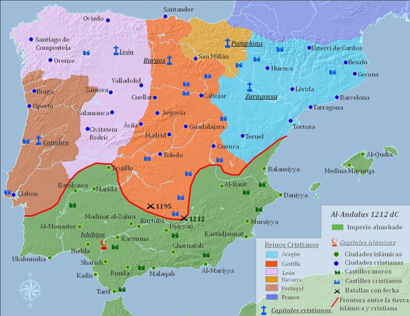 La Península Ibérica en 1212