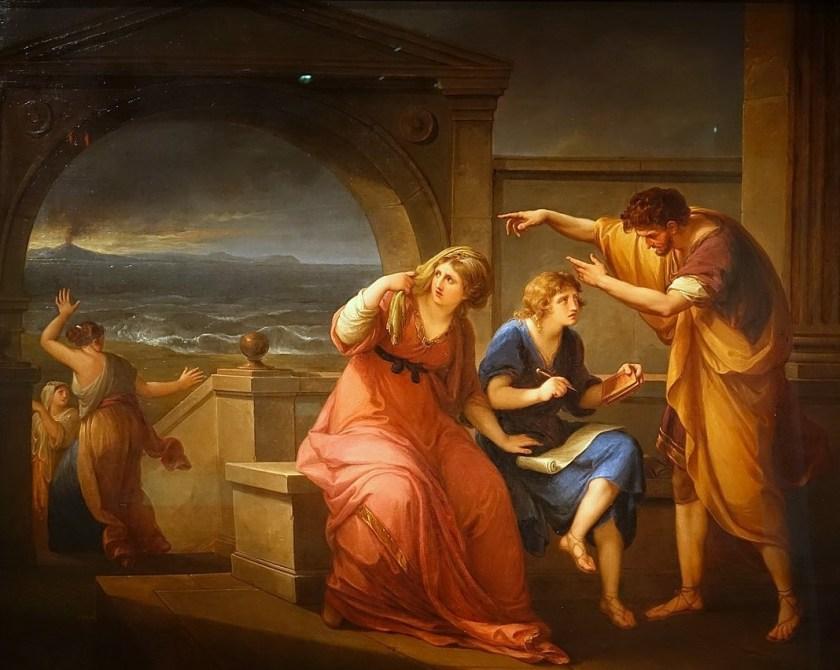Plinio el Joven con su madre en Miseno, al fondo la erupción del Vesubio