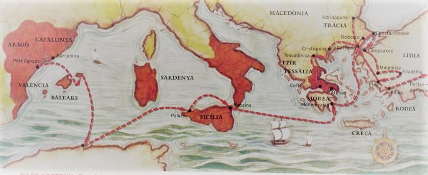 Recorrido por el mediterráneo de los almogávares.