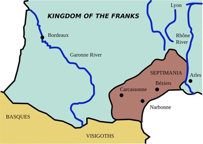 La Septimania era la zona más al norte de Reino Visigodo.