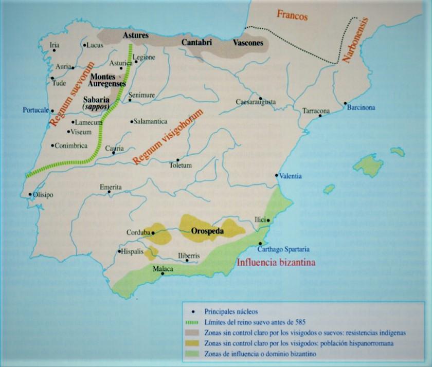 Mapa de la Península en tiempos de Leovigildo