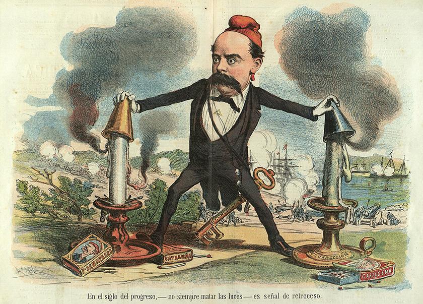 Emilio Castelar apagando los fuegos revolucionarios.
