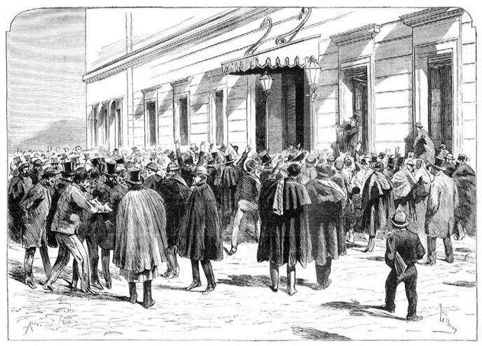 Exterior de las Cortes el 10 de febrero de 1873