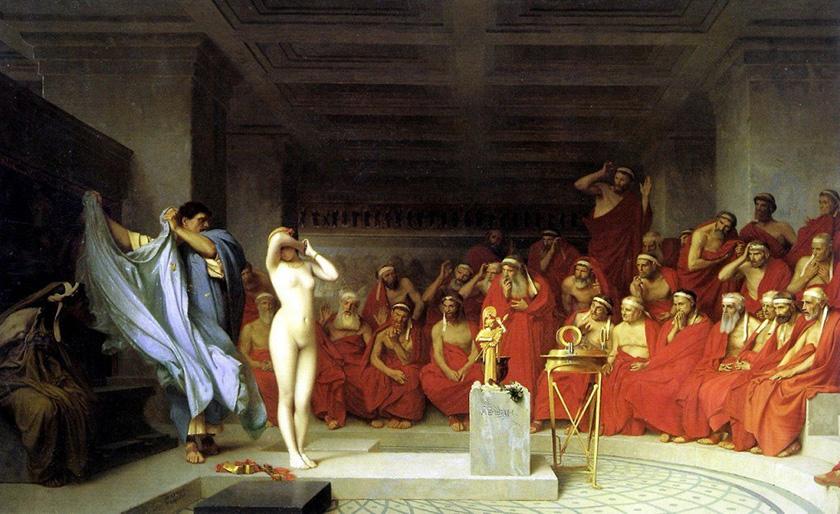 Juicio a Friné, uno de los más célebres de la Antigua Grecia