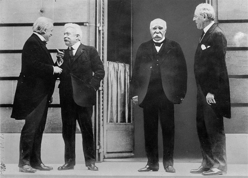 Los cuatro principales protagonistas en Versalles. De izquierda a derecha, el británico, el italiano, el francés y el norteamericano