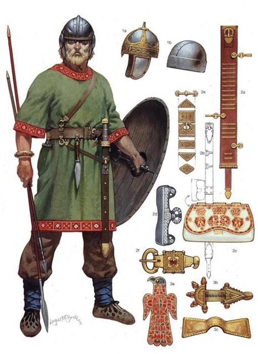atuendo, armas y joyas del pueblo visigodo.