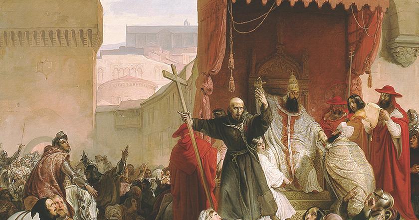 Representación del discurso de Urbano II por Francesco Hayez en el siglo XIX