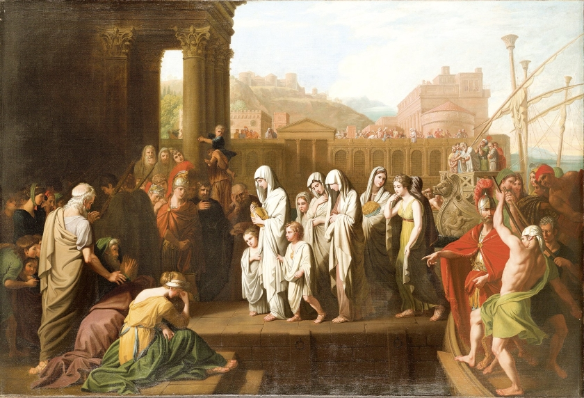 Agripina llega a Brindisi con su hijos y con las cenizas de Germánico