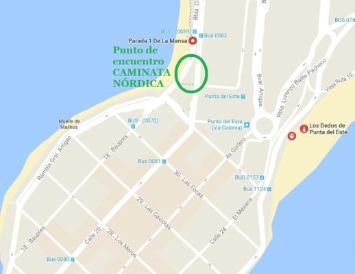 Pta del ESte PARADA 1 playa MANSA mapa
