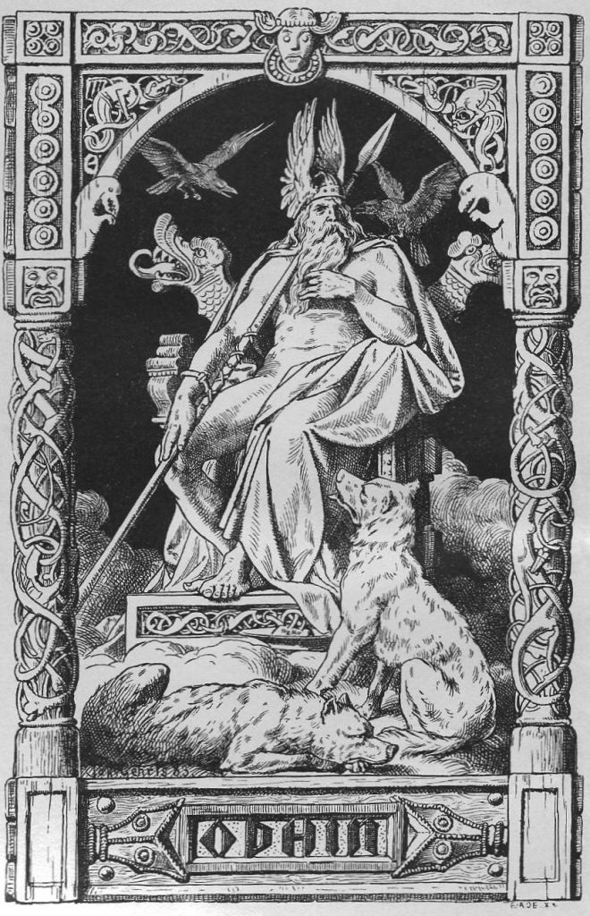 Odin em seu trono Hlidskialf em Valhalla