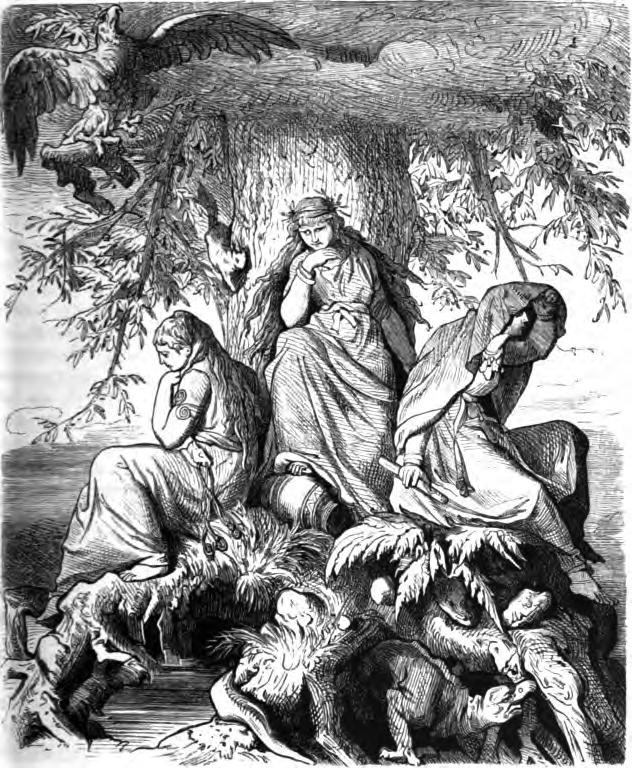"""Nornas Urd, Verdandi e Skuld. Crédito: """"The Norns Urd, Verdandi, and Skuld under the World-tree Yggdrasil"""" por Ludwig Burger (1882)"""