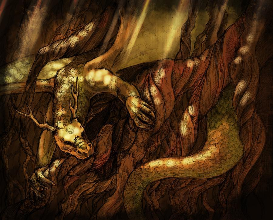 Dragão / Serpente NIdhogg. Fonte: https://www.deviantart.com/aniaartnl/art/Nidhogg-551909012