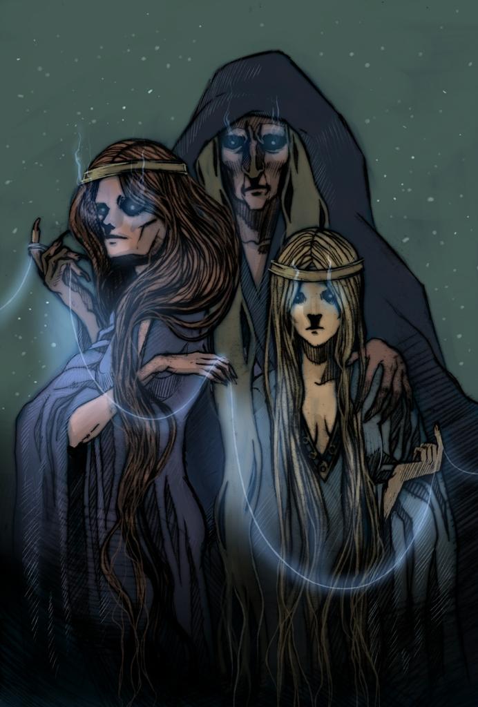 Nornas Urd, Verdandi e Skuld. Fonte: https://www.deviantart.com/haimeart/art/Norns-206397973