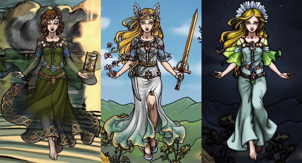 Da esq. p/ dir.: Nerthus (mãe de Freyr e Freya); Freya; Gerd. Fonte: https://www.deviantart.com/akhillesy/art/Mother-daughter-and-daughter-in-law-656921418