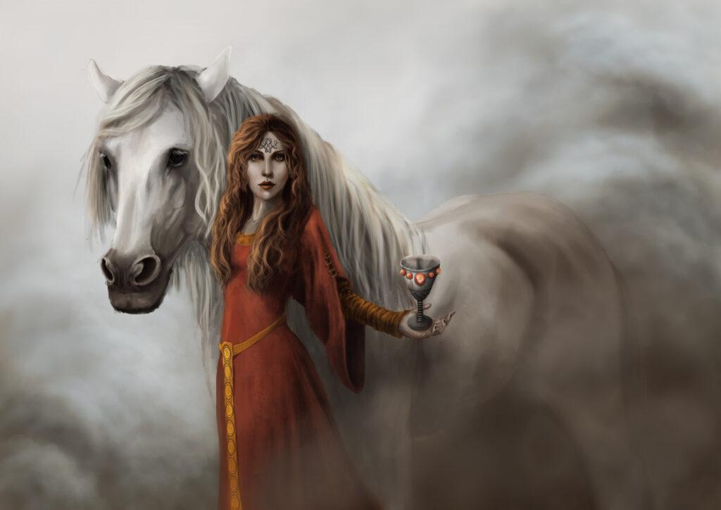 Deusa Rhiannon. Fonte: https://www.artstation.com/artwork/G66AQ