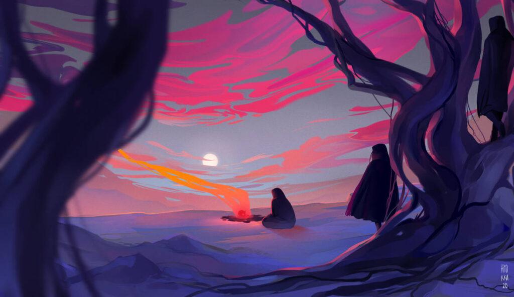 Fonte: https://www.deviantart.com/hyokka/art/The-wind-the-skies-the-fire-836393187