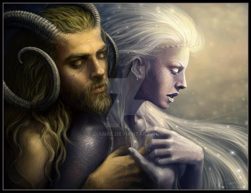 Deus Pan e Deusa Selene. Fonte: https://www.deviantart.com/dianae/art/Pan-and-Selene-65130116