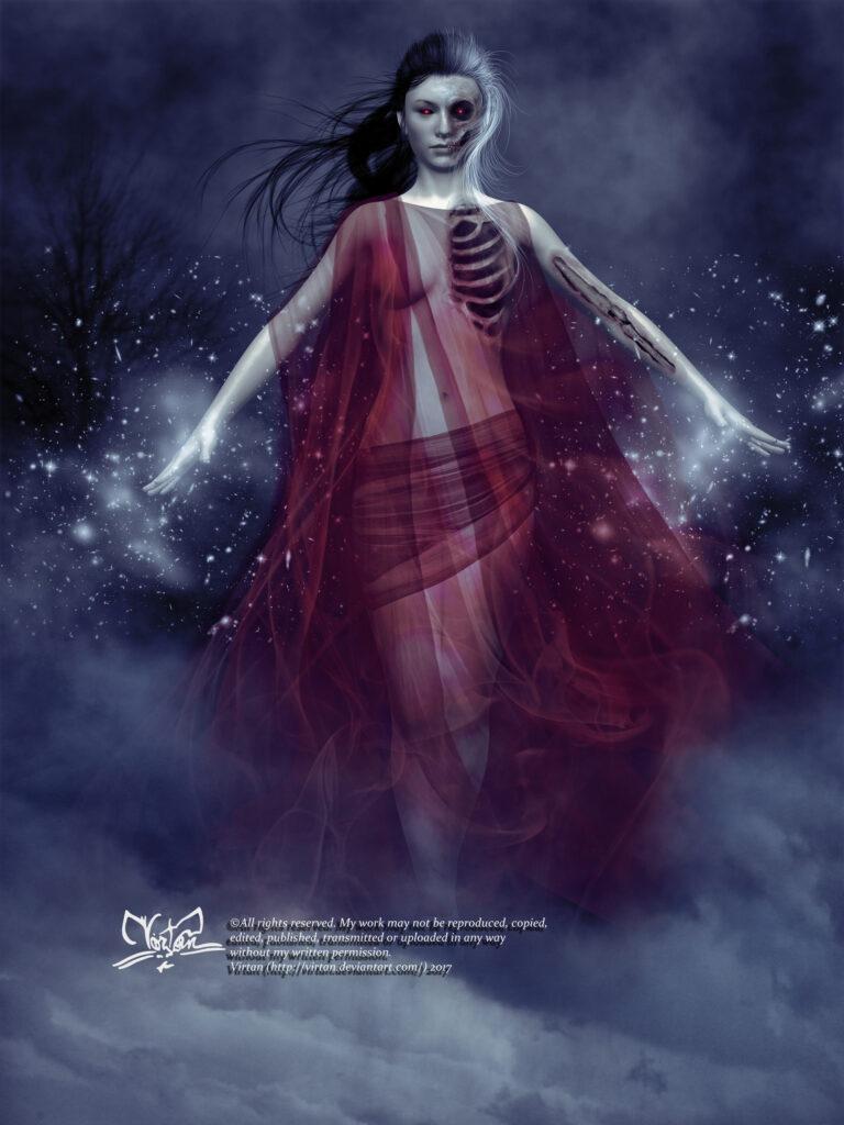 Deusa Hel. Fonte: https://www.artstation.com/artwork/X8yvw